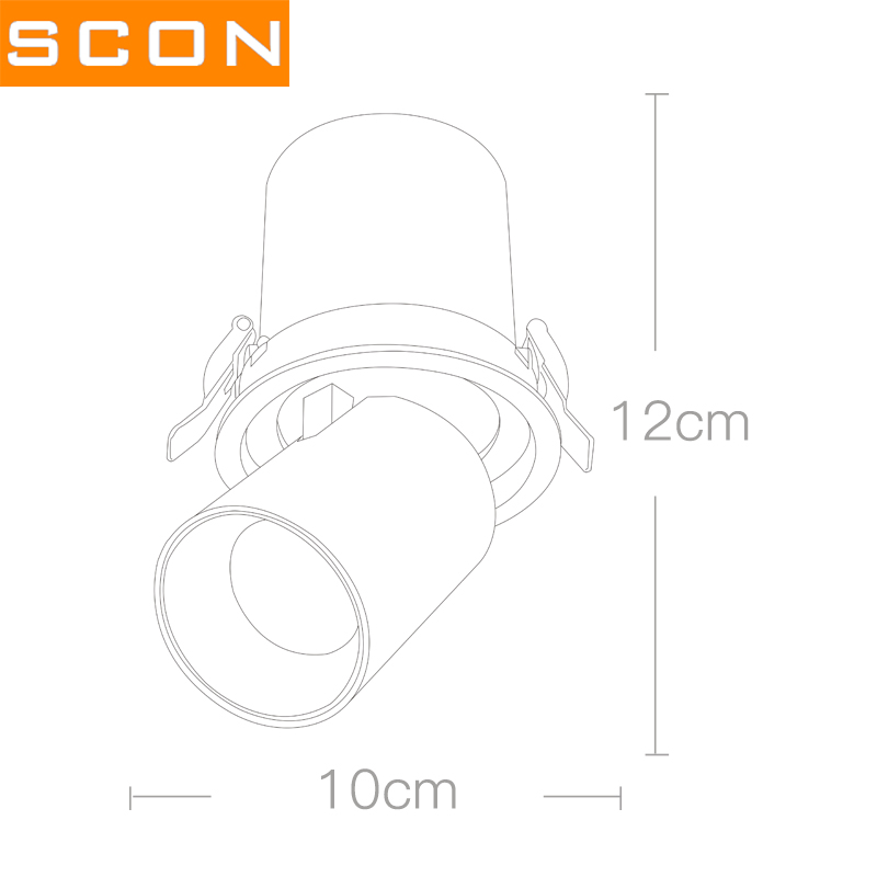 SCON 10W Stretchable LED Spotlight Background Wall Rotateable Painting Lamp High CRI embedded ceiling Downlight wall wash light