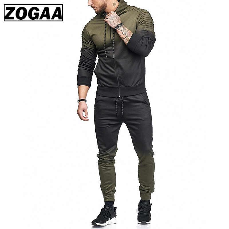 ZOGAA カジュアル男性のセットトラックスーツ生き抜くスポーツトラックスーツトップスとパンツ長袖スウェット男性ジャージ服男性