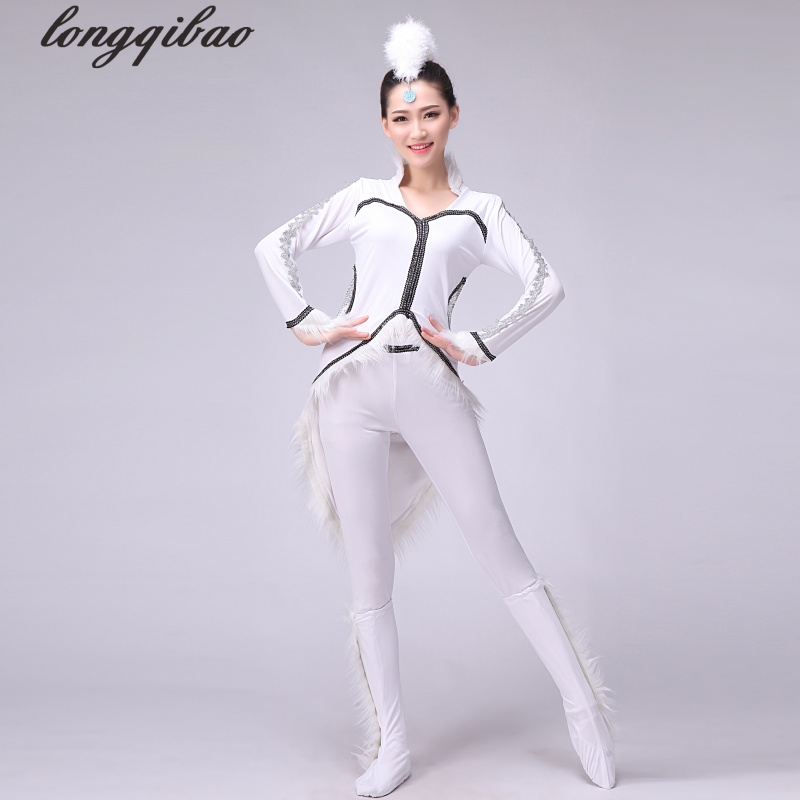 New adult dance month fox white performance clothing (with shoe cover) TB7035
