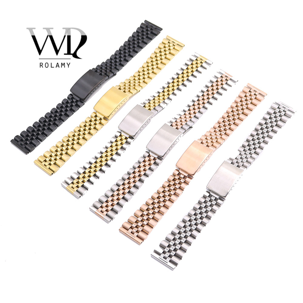 Rolamy Wholesale <font><b>20mm</b></font> Replacement 316L Stainless Steel Wrist Watch Band Strap Bracelet For Omega IWC Tudor <font><b>Seiko</b></font> Breitling image
