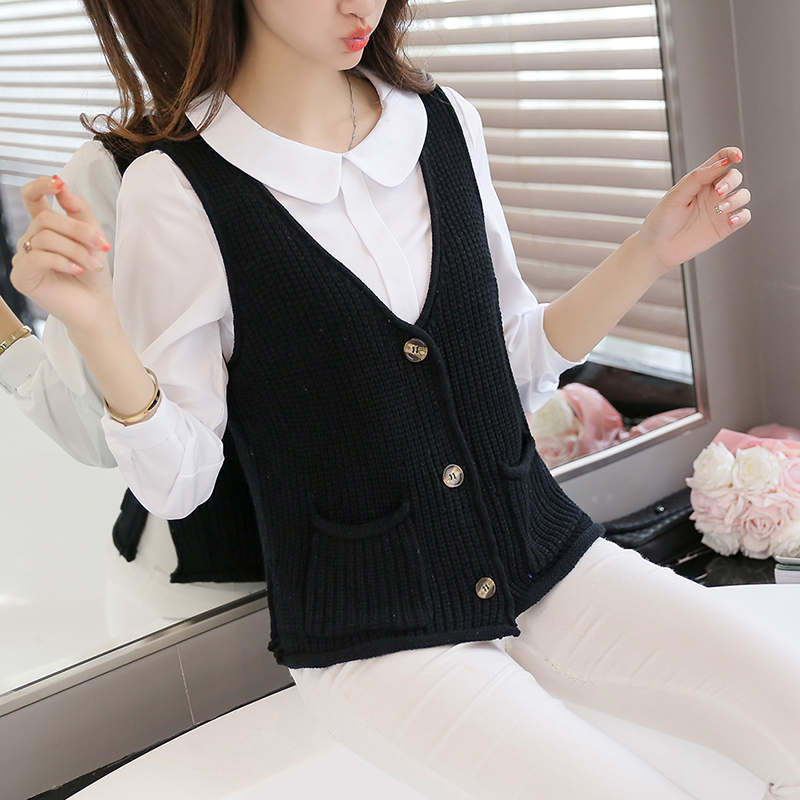 Women Cardigan vest  2018 Autumn Winter Fashion Knitted V-Neck Sleeveless Women Sweaters casual Pockets short  Vest waistcoat