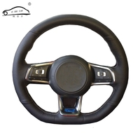 Car Steering wheel braid for Volkswagen Golf 7 GTI Golf R MK7 VW Polo GTI Scirocco 2015 2016/Custom made Steering wheel cover