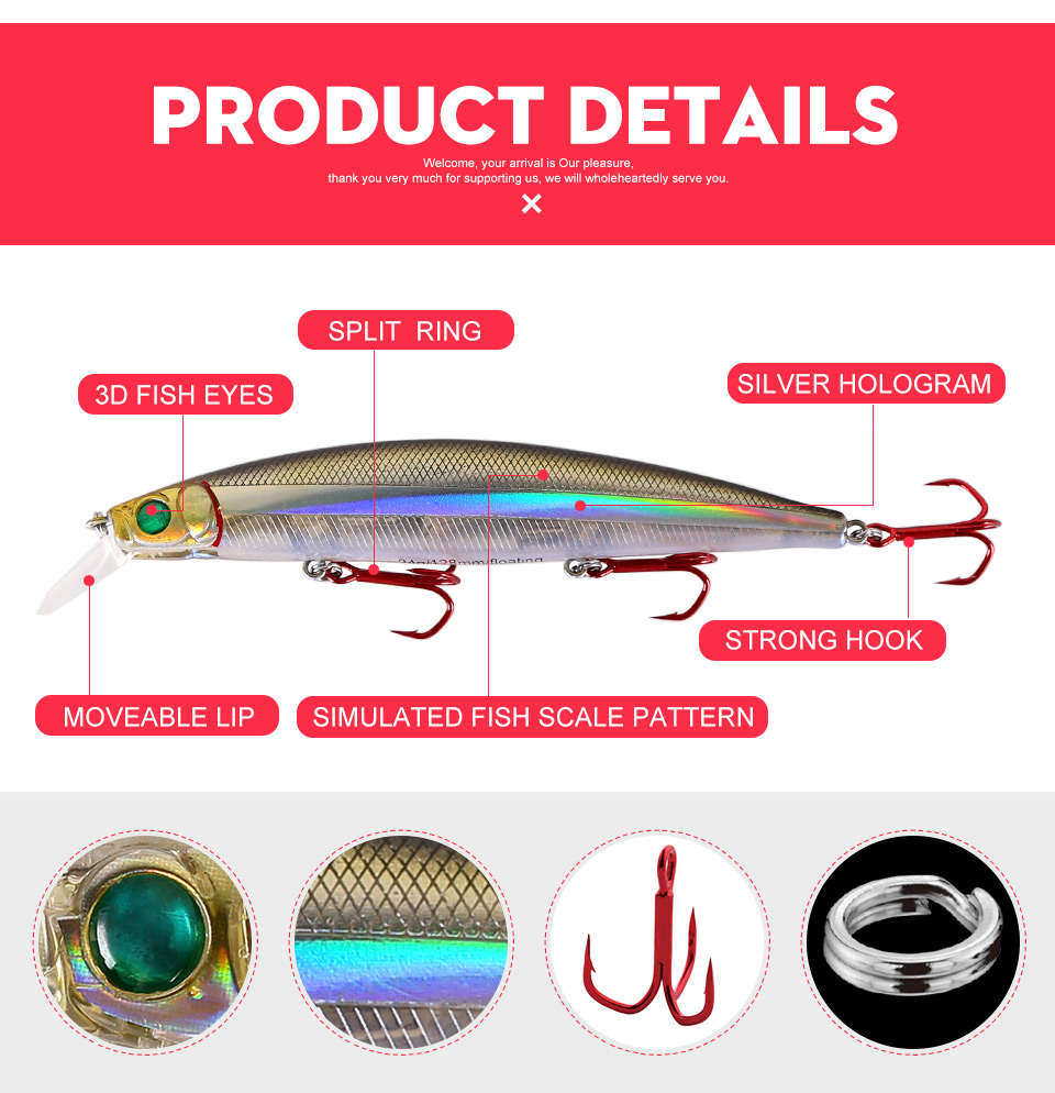 Kingdom Fishing lures 10g90mm 23.5g128mm Floating Minnow and Pencil Switchable Lilps artificial baits for sea bass wobblers 5358 (5)