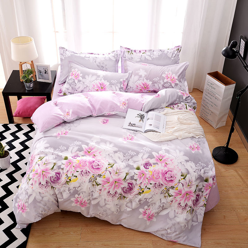Solstice Home Textile King Full Bed Linen Suit Purple Flower Duvet Cover Flat Sheet Pillowcase Girl Teen Adult Woman Bedding Set