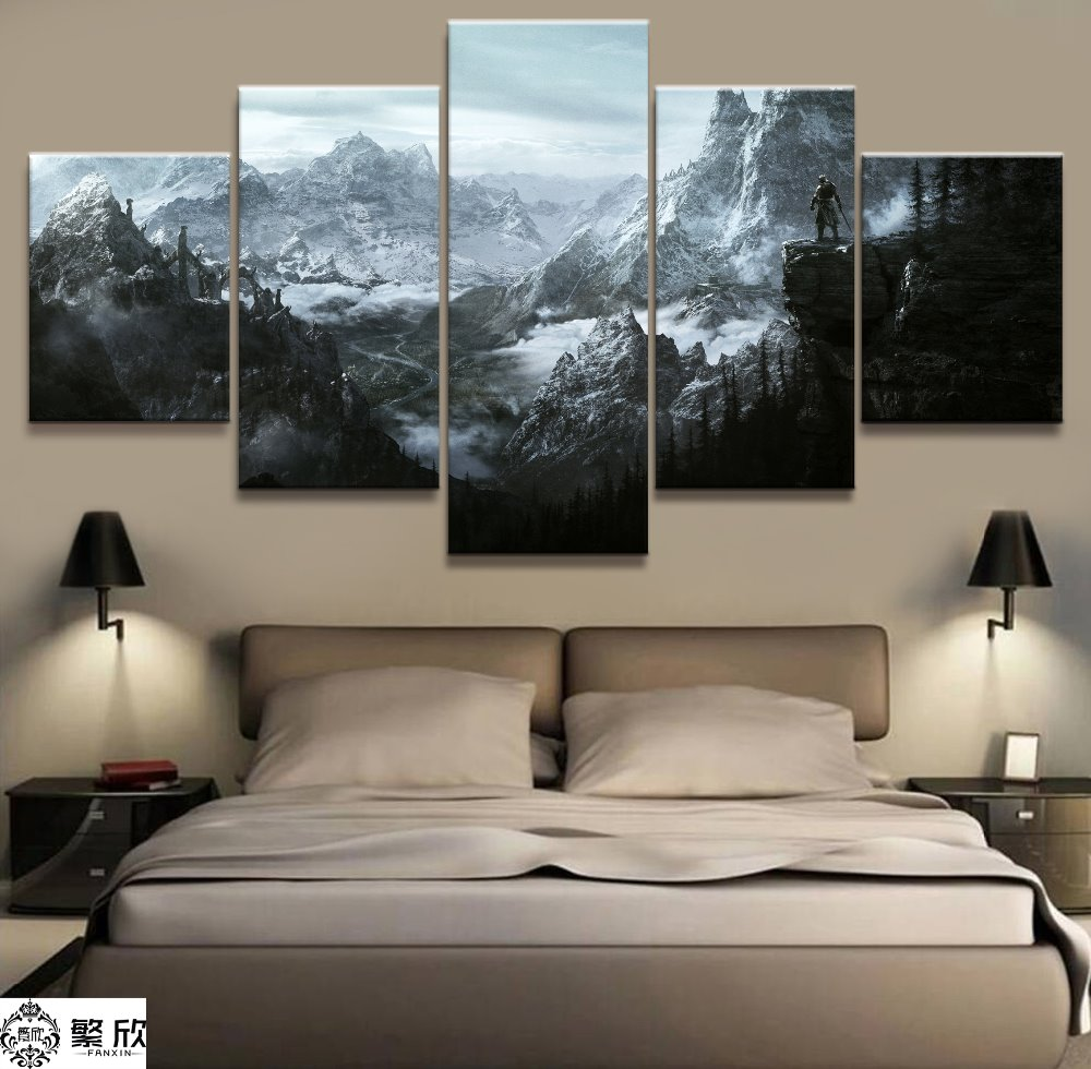 Home Decor Modular Canvas Picture 5 Piece Elder Scrolls V Skyrim Game Painting Poster Wall For Home Canvas Painting Wholesale image