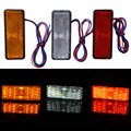 24LED Motocicleta Refletor Cauda Brake Turn Signal Lâmpada Luz Retângulo Carro/ATV LED Refletores/Lateral Do Caminhão Luzes de Advertência