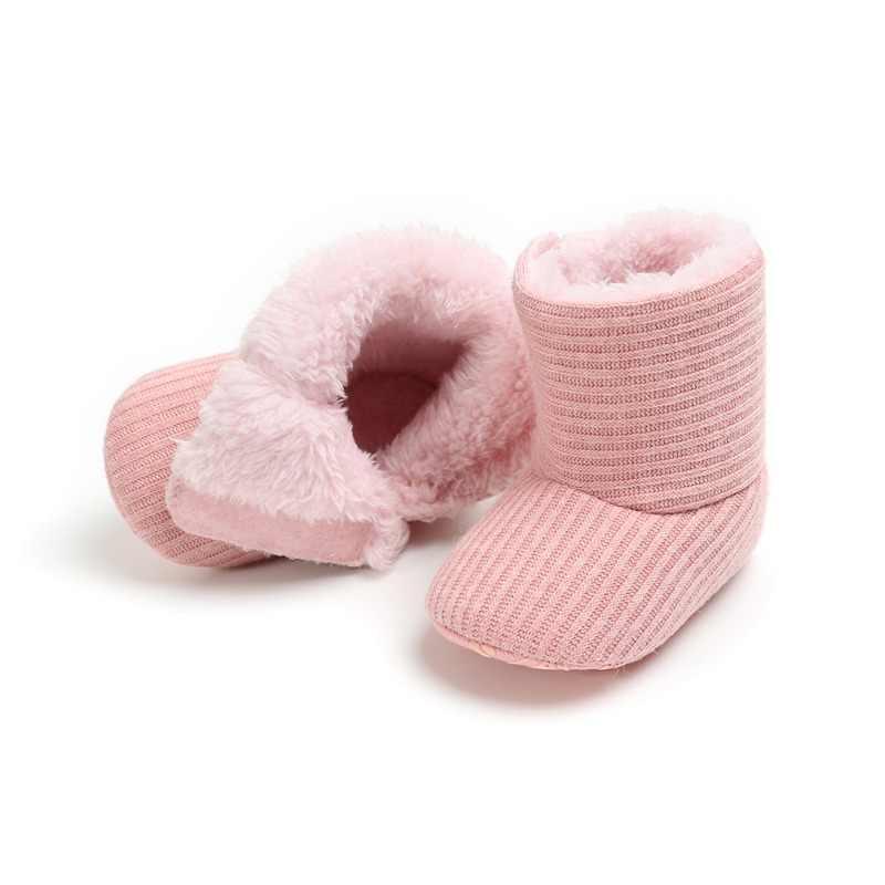 5 צבעים תינוק ילד בני בנות סרוג פרווה מגפי פעוטות רך Sole קצר חם רך שלג בני בנות מגפי נעליים 0-18 חודשים