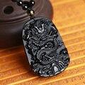 Envío de la gota Única Dragón Lucky Tallado Natural Negro Obsidiana Amuleto Colgante de Collar Para Las Mujeres de Los Hombres colgantes de la Joyería de Jade