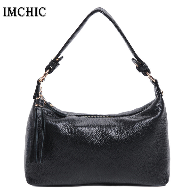 IMCHIC 2017 Women Shoulder Bags Genuine Leather Cowhide Solid Pattern Hobo Woman Casual Bag Classic Ladies Handbags Bolsos 1213
