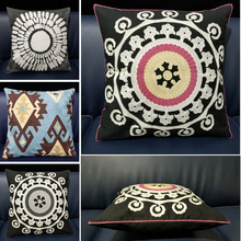 Black Embroidered Cushions Covers Embroidery Decorative Pillows Cases Geometric Flower Cushion Cover Home Decor for sofa 45x45cm home decorative black white cushion cover embroidered square embroidery pillow cover 45x45cm sofa geometric decorative pillows