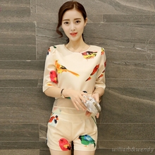 Women Summer Bird Print Korean Fashion Shorts And Half Sleeve Yarn Patchwork Harajuku Shirt Suit Casual Sexy Party Club Clothing