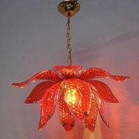 14 Glass Lotus Dining Room Pendant Lights Golden Body Chain Glass Fish Scale Leaf Study Room Pendant Lamps Corridor Hallway