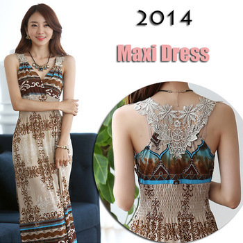 Wholesale 2014 bohemia beach print V-neck full dress holidaying summer slim one-piece dress