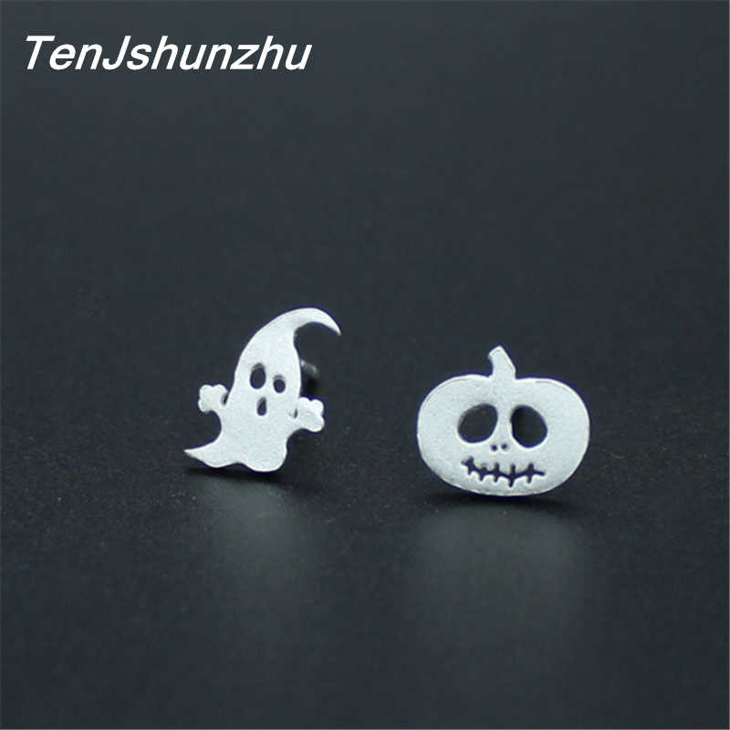 925 Sterling Silver Prevent Allergy Halloween Pumpkin Stud Earrings for Women Wedding Earrings Jewelry Accessories Brincos
