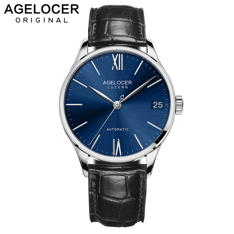2018 New AGELOCER Dress Watches for Men Blue Dial Sapphires Lens Glass Automatic Watches Leather Swiss Brand 7074A12018 New AGELOCER Dress Watches for Men Blue Dial Sapphires Lens Glass Automatic Watches Leather Swiss Brand 7074A1