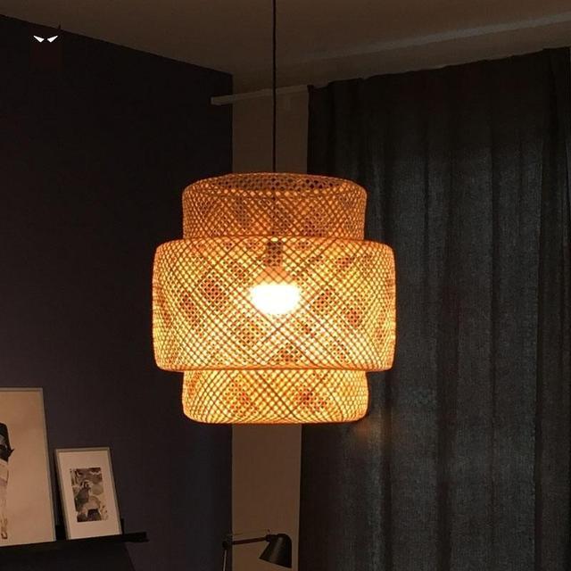 Hand Bamboo Wicker Shade Pendant Light Fixture Cord Asian Rustic Vintage Nordic Scandinavian Modern Rattan Hanging