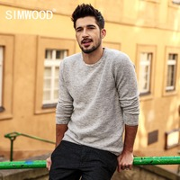 SIMWOOD Sweater Men 2018 autumn New pullover Slim Fit Thin Mens Knitted Sweaters Male Curl Hem High Quality Plus Size MT017003