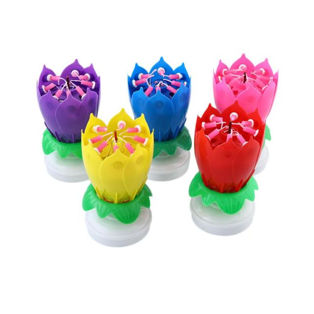 New Lotus Rotating Flower Candle Plays Happy Birthday Music