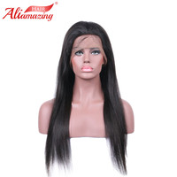 Ali Amazing Hair Brazilian Full Lace Wigs Straight Human Hair Wigs With Baby Hair Swiss Lace Remy Lace Wig