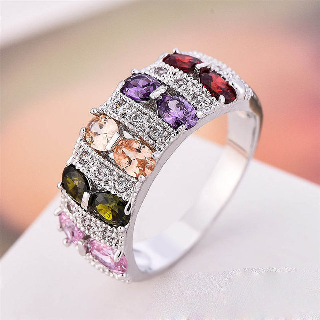 dy 2017 new lady wedding ring for color crystal silver ring girl jewelry fashion jewelry