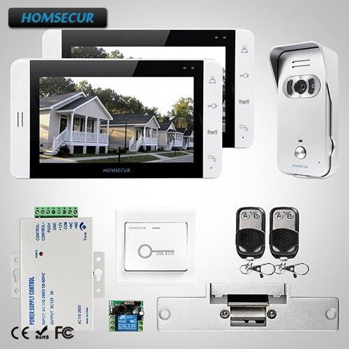 HOMSECUR 7 Видео домофонов Интерком охранника + монитор для дома/без каблука: 1C2M + L1: TC021 S Камера (серебро) + TM703 W монитор (белый) + замок