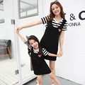 Preax kids Hot family clothing matching mother daughter dresses family set clothes for mother and daughter cotton striped dress