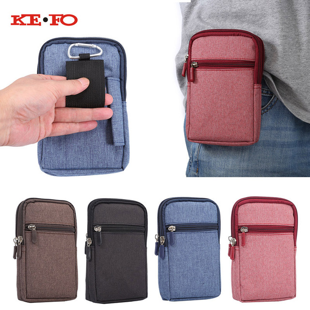 Denim Leather Universal Holster Phone Pouch Bag Wallet Case Belt Clip for Highscreen Alpha R Outdoor case cover with 2 Pockets