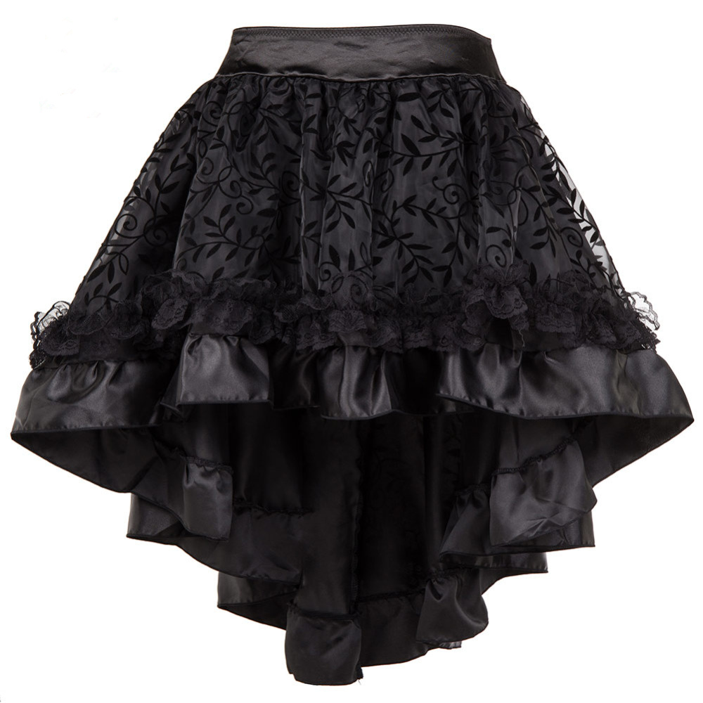 S-6XL Skirts Womens Plus Size Brown Black Asymmetrical Floral Tulle Skirt Ruffled Satin Lace Trim Vintage Skirts Casual Wear