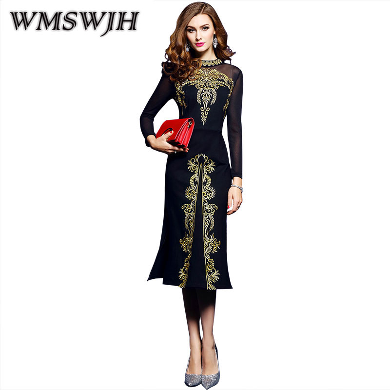 Wmswjh Women Spring & Summer Vintage Embroidery Dress Female Elegant Black Vestidos Retro Robe Femme Knitted Clothing Mesh WJM94