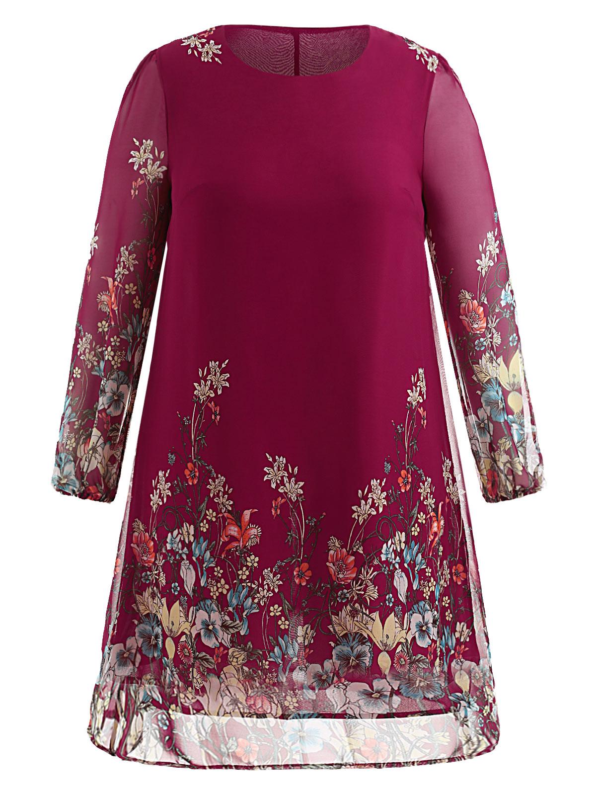 Robe grande taille à manches longues en mousseline de soie rose 2 dos