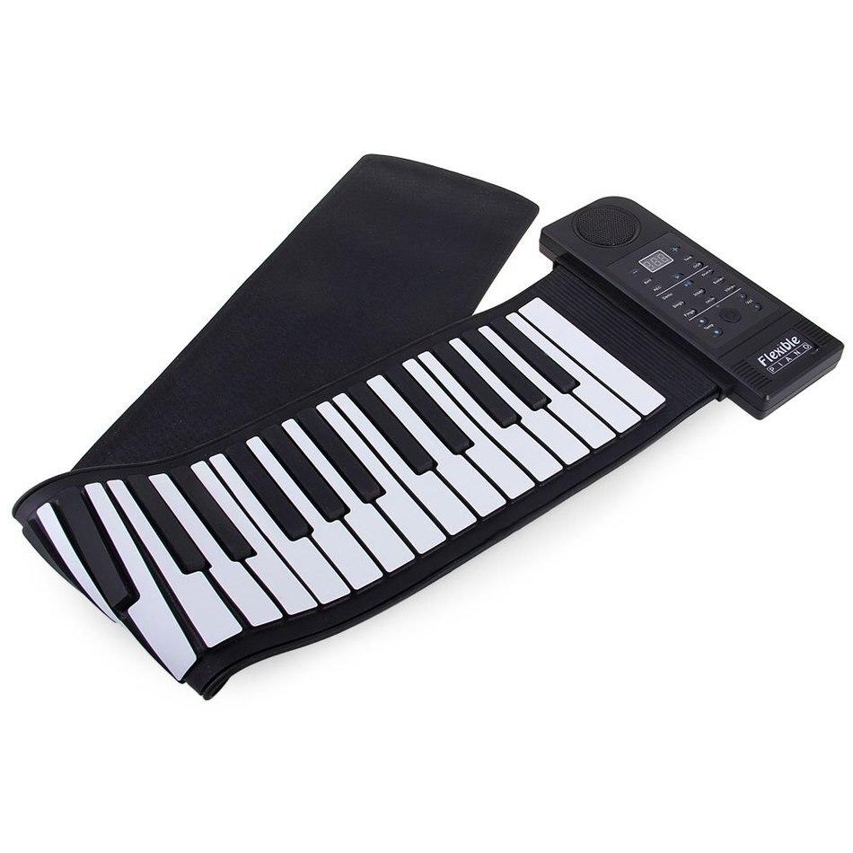 Hot Sale 66 Keys Electronic MIDI Piano Keyboard Silicon Flexible Roll Up Piano PU61S USB MIDI Roll Up Piano Kit - 100 - 240V flexible silicon keyboard