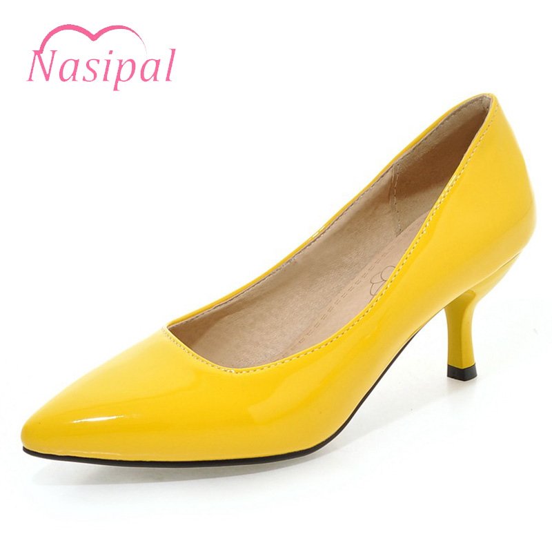 Nasipal Candy Color Pumps High Heel Dress Shoes for Women Thin Heel Slip on Party Wedding Shoes Pointed Shallow Size 30-48 C696 sequined high heel stilettos wedding bridal pumps shoes womens pointed toe 12cm high heel slip on sequins wedding shoes pumps