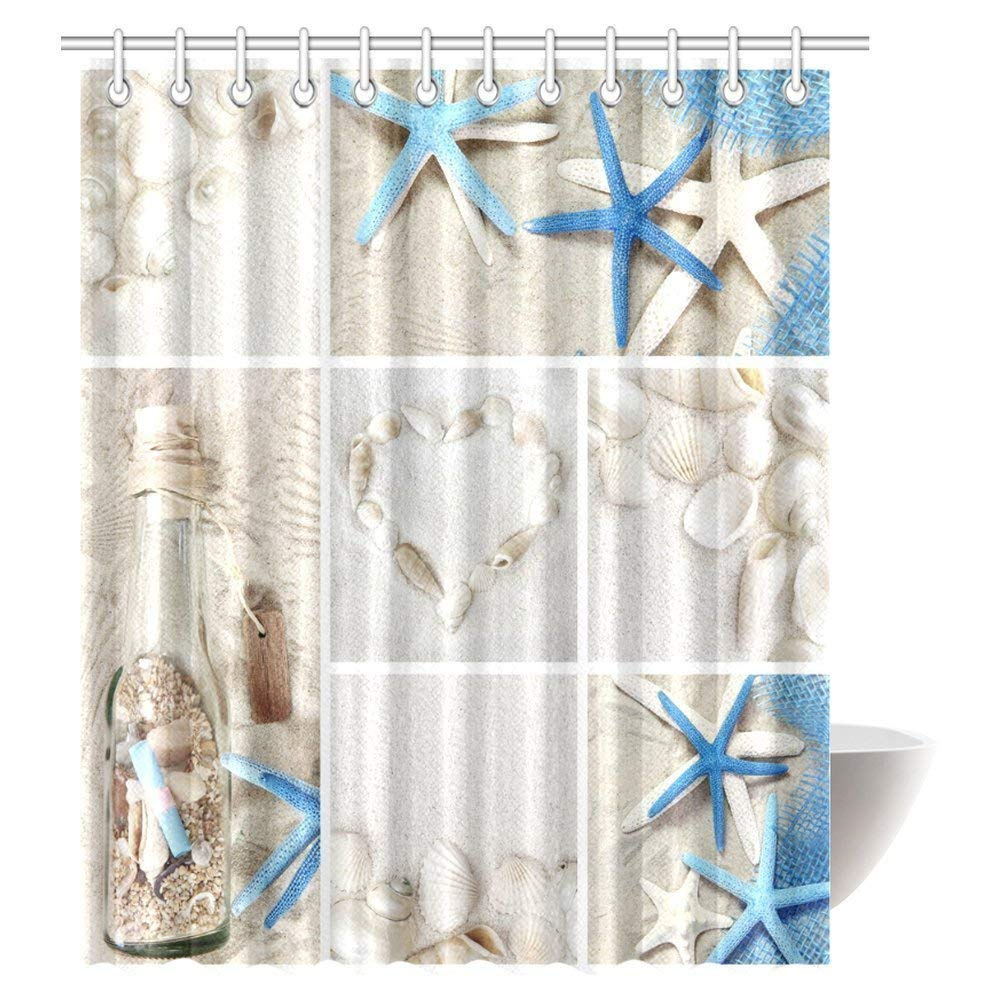 Marine Life Decoration Starfish Polyester Bathroom Fabric Shower Curtain 71 Inch
