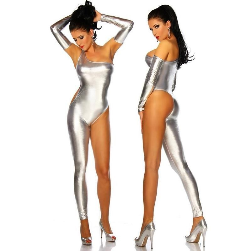 Metallic Full Body Gold Unitard <font><b>Catsuit</b></font> Tight <font><b>Sexy</b></font> Club Suit <font><b>Lycra</b></font> Zentai Bodysuits Long Sleeves Zipper Adult Kids Halloween image