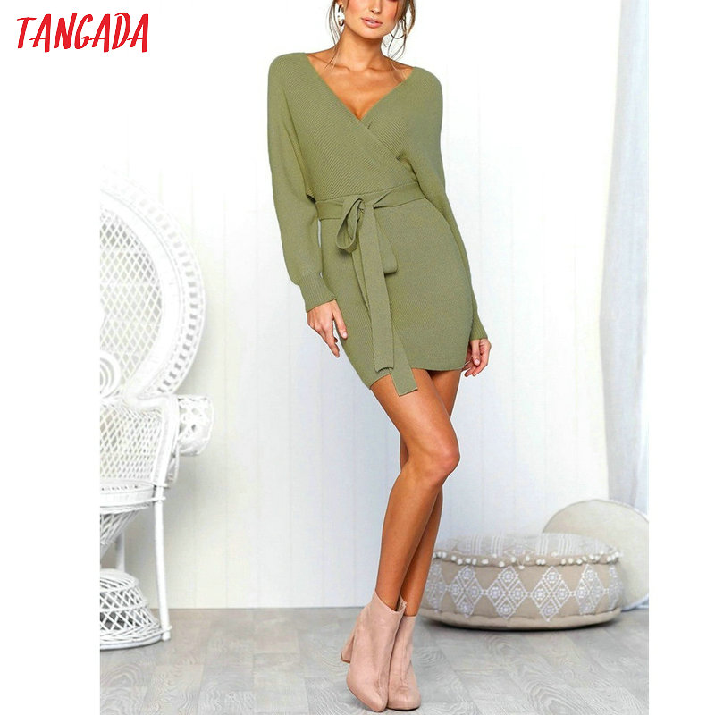 Tangada women dress 19 knitted mini dress autumn winter ladies sexy green sweater dress long sleeve vintage korean ADY08 16