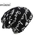Miaoxi для женщин теплые осенние вязание хлопок письмо стиль Осенняя шапка женская шапочка шарф 2 Применение кепки обувь для девочек Gorros - фото