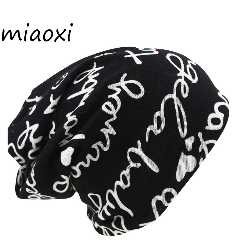 miaoxi Women's Warm Autumn Knitting Cotton Letter Style Autumn Hat Ladies Beanie Scarf  2 Use Cap Girls Gorros Women Skullies