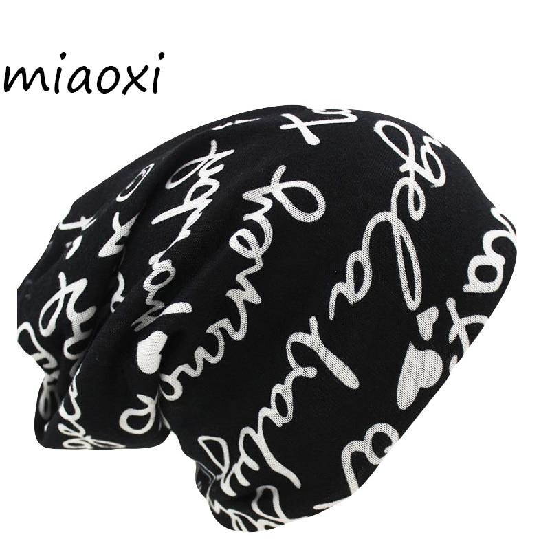 Miaoxi Women's Warm Autumn Knitting Cotton Letter Style Autumn Hat Ladies Beanie Scarf  2 Use Cap Girls Gorros Women Skullies