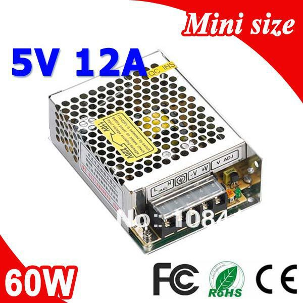 MS-60-5 60W 5V 12A Mini size LED Switching Power Supply Transformer 110V 220V AC to DC output