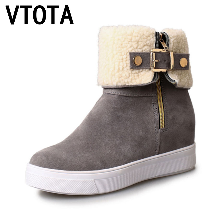 VTOTA Women Winter Shoes Flat Warm Ankle Boots Buckle Snow Boots Casual Platform Shoes Botas Mujer Shoes Woman Flats Boots D82 ubz women snow boots australia sheepskin wool snow boots female winter flat shoes bottomed buckle warm boots botas mujer