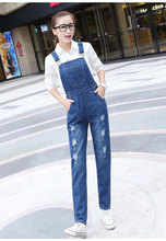 High Waist Jeans Time-limited Hot Sale Cotton Light 2016 Summer Fashion Plus Size Casual Slim Hole Overalls Pants Ss0787