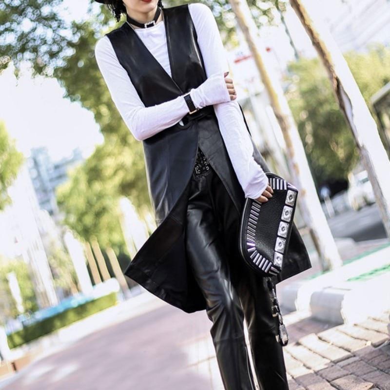 Noir Gilet Vestes Streetwear Cuir Ceinture D'été Black En Mode Dames Mince Femmes 2019 Réel Agneau Longue De Véritable Trench coat w8q0wTY