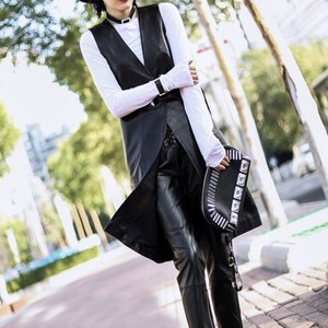 Image 2 - 2020 yaz moda kadınlar siyah hakiki deri yelek ceketler kemer ince gerçek kuzu derisi deri uzun siper ceket Streetwear bayanlar
