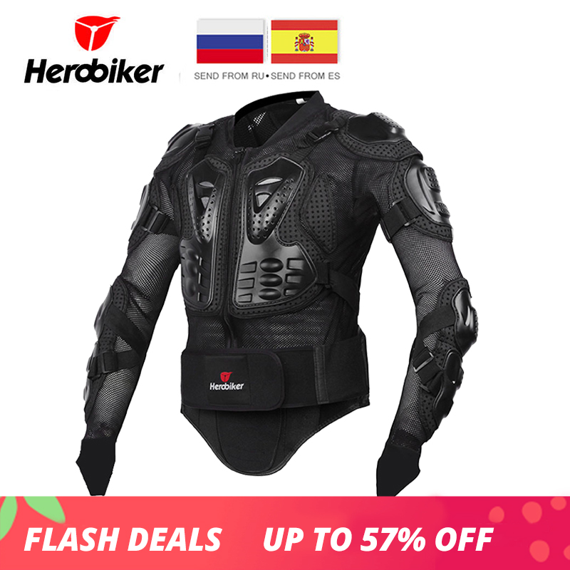 HEROBIKER Motorcycle Jacket Men Full Body Motorcycle Armor Motocross Racing Protective Gear Motorcycle Protection Size S-5XL недорго, оригинальная цена