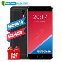 כוח 2 גרסה אירופאית Ulefone Smartphone 5.5 Inch FHD MTK6750T אוקטה Core אנדרואיד 7.0 4 GB + 64 GB 16MP 6050 mAh זיהוי טביעת אצבע 4 גרם