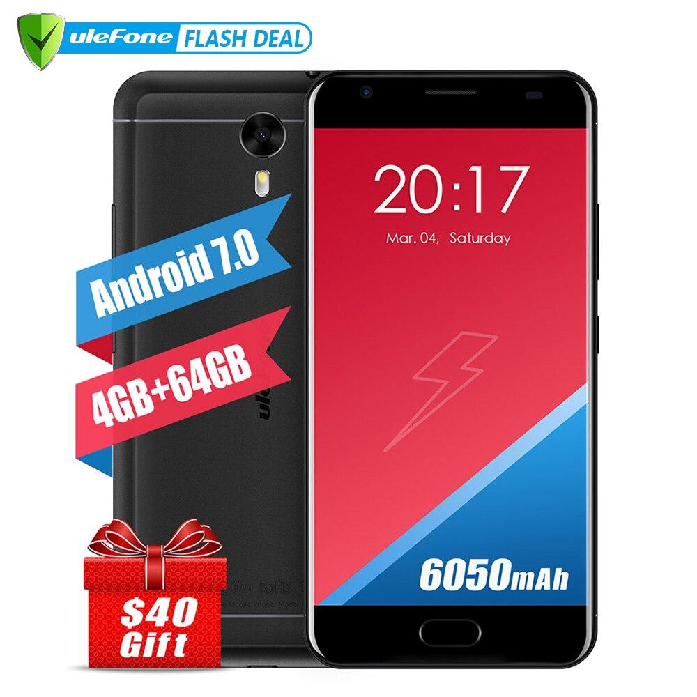 Atras Ulefone Power 2 versión europea Smartphone 5,5 pulgadas FHD MTK6750T Octa Core Android 7,0 4 GB + 64 GB 16MP 6050 mAh huella dactilar ID 4G