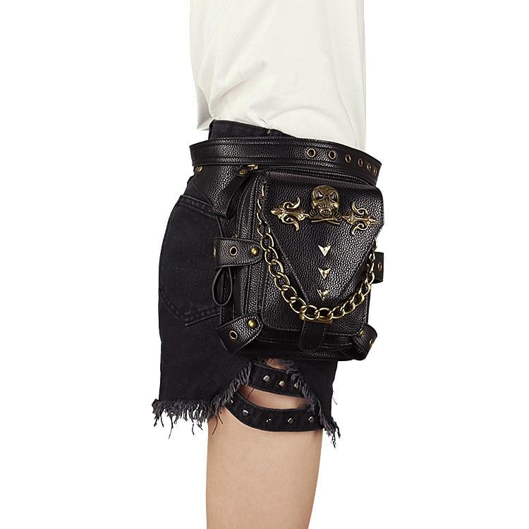 Womens Steampunk Bags Gothic Messenger Handbag Shoulder Bag Vintage Fashion Retro Rock Waist Pack Small Leg