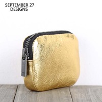 Genuine Leather Coin Purses Real Cowhide Gold Color Mini Wallet Credit Card Purse Small Wallets Coin Pouch Money Bag Coin Pocket