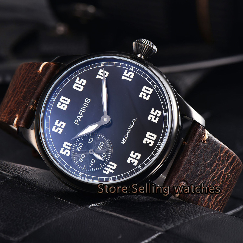 44mm parnis black dial PVD case hand winding 6497 mechanical mens watch цена и фото