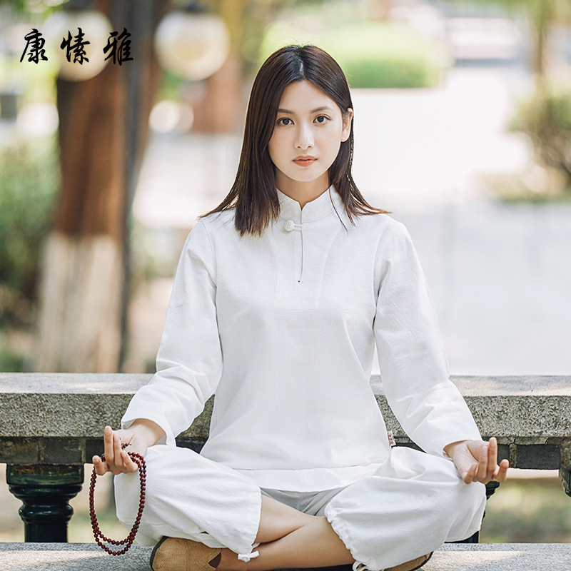 New Cotton And Linen Suit Chinese Martial Arts Clothes Tai Chi Uniform Morning Exercise Sporting Wear Long Sleeves Kung Fu Suit